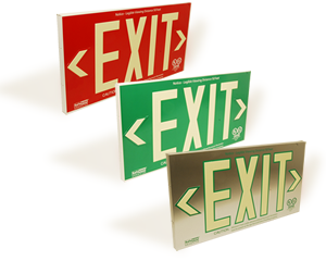 AlumaGlow™ Photoluminescent Exit Signs - UL 924 Listed