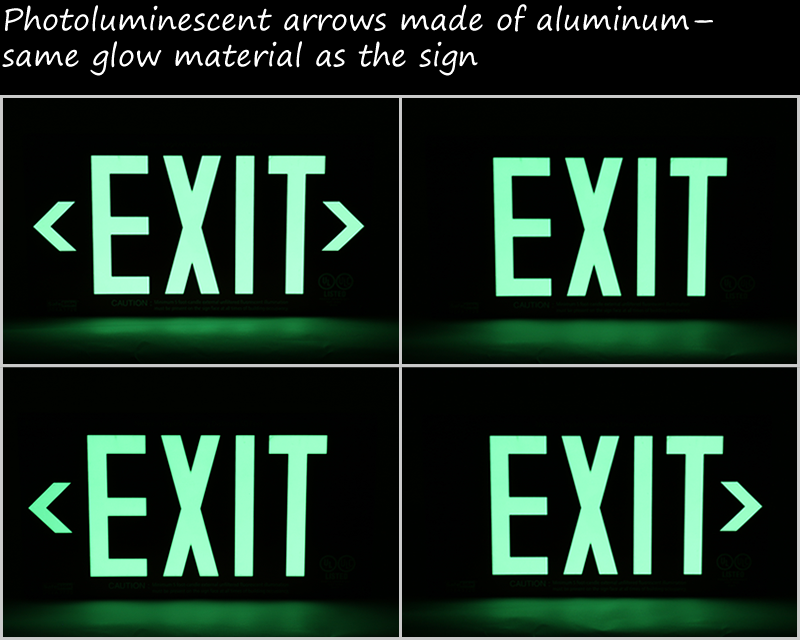 Photoluminescent exit signs in night