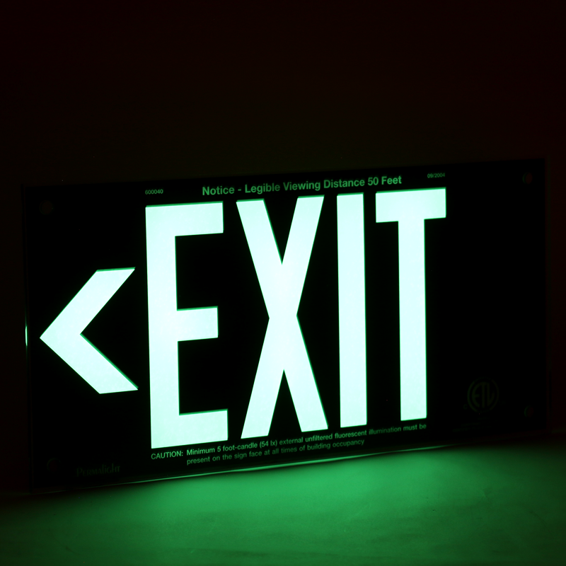 Ul 924 Acrylic Photoluminescent Exit Sign Black Exit