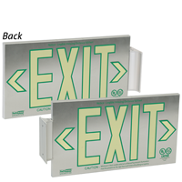 2 Sided, Brushed Aluminum Exit Sign, Box