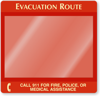 Call 911 For Fire, Police Evacuation Map Holder