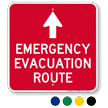 Emergency Evacuation Route Ahead Arrow Sign