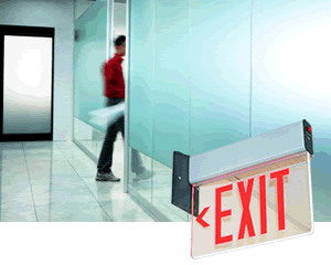 Edge Lit Exit Signs - Recessed Exit Signs