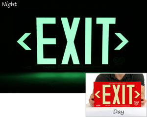 Photoluminescent Exit Signs in Night and Day