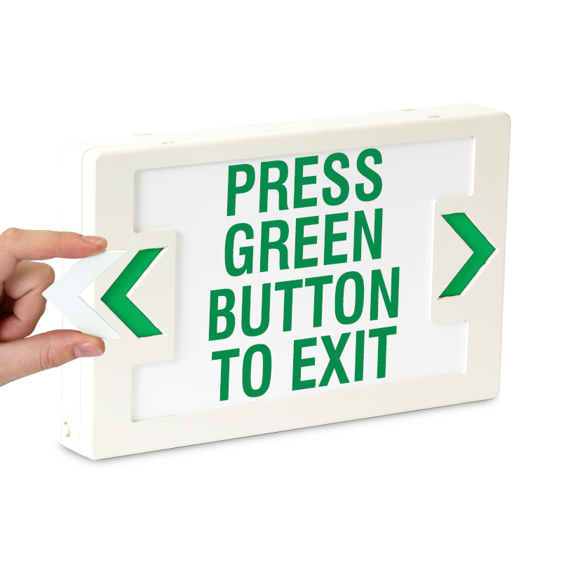 Press Green Button To Exit Led With Battery Backup Signs Sku Exit 1039
