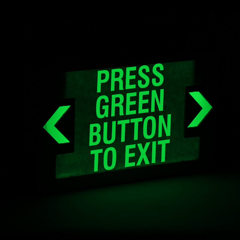 press green button to exit led with battery backup signs sku exit 1039 battery backup signs sku exit 1039