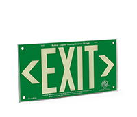 Green background, wording EXIT