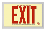 Red EXIT sign in Brushed Aluminum Frame