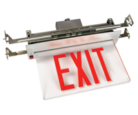 Recessed Edge-Lit Exit Sign, Anodized Aluminum