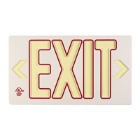 White w/Red  Molded Photoluminescent Exit Sign