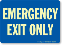 Emergency Exit Only (white on blue)