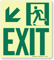 GlowSmart™ Directional Exit Sign, Downward Arrow Sign