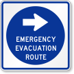 Emergency Evacuation Route Sign With Right Arrow Symbol
