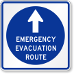 Emergency Evacuation Route Sign With Top Arrow Symbol
