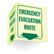 Emergency Evacuation Route Arrow Projecting Sign