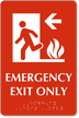 Emergency Exit Only, with Left Arrow Braille Sign