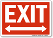 White On Red Exit Sign with Bidirectional Arrow