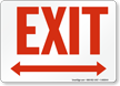 Exit with Red Bidirectional Arrow Sign