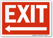 Exit with Left Arrow Sign, White On Red