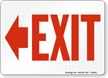 Exit with Red Left Arrow Direction Sign