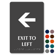 Exit To Left Tactile Touch Braille Sign