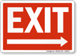 Exit Sign with Right Arrow, White On Red