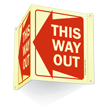 This Way Out (Left Arrow graphic) Sign