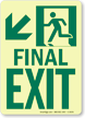 GlowSmart™ Final Exit Sign, Arrow Down Sign