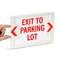 Exit to Parking Lot - Red Lettering, LED Exit Sign