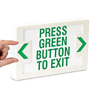 LED Press Green Button To Exit Sign with Punch-Out Arrows