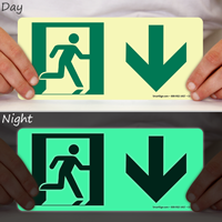 Glow-in-the-Dark Directional Exit Down Arrow Sign